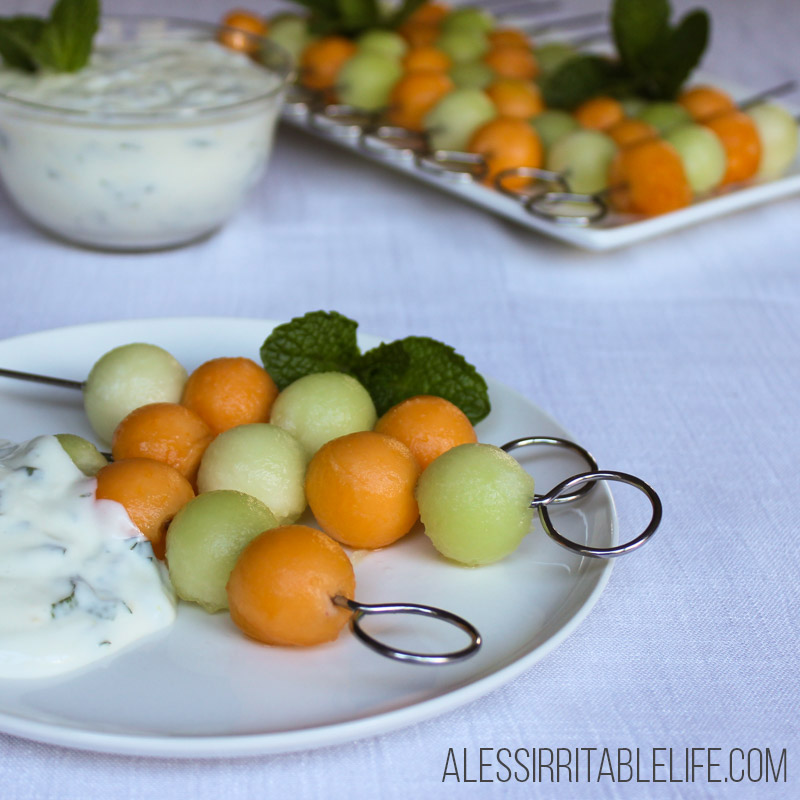 Melon Skewers with Mint and Lime Yoghurt