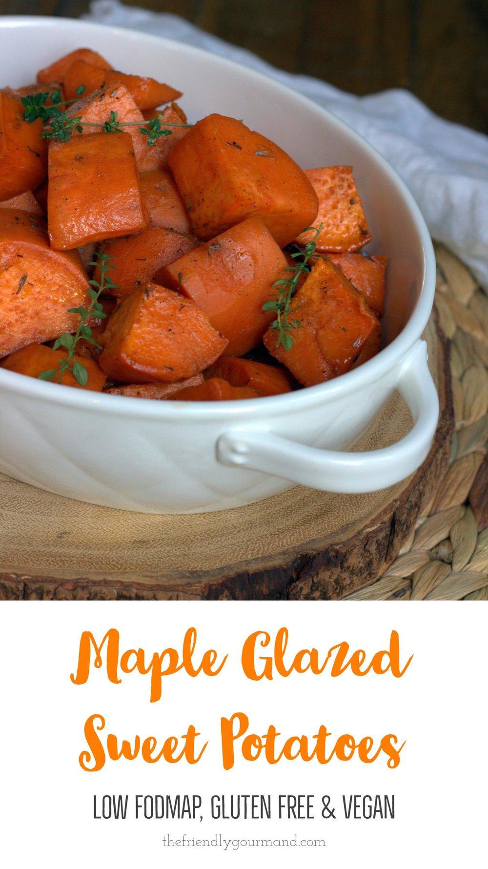Maple Glazed Sweet Potatoes - Low FODMAP, Gluten Free and Vegan | The Friendly Gourmand | #lowfodmap #glutenfree #vegan #thanksgiving #christmas
