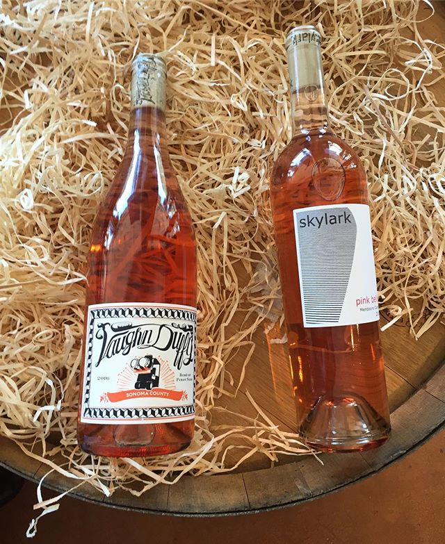 Even MORE rosé! Vaughn Duffy Rosé of Pinot Noir, Sonoma County 2016 and Skylark Pink Belly Rosé, Mendocino County 2016. . . . . . . . #winemaking #winemaker #vino #vin #wine #marin #marincounty #sananselmo #rosé #pinotnoir #mendocinocounty #sonomacounty #wineshop #winebar