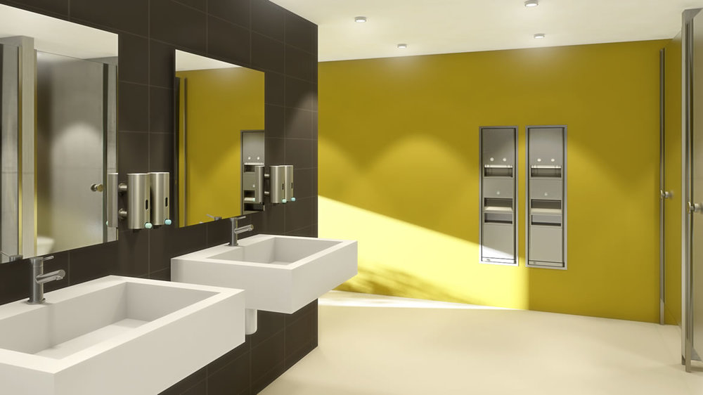 Public restroom w mulitple sinks and panels _medium traffic.jpg
