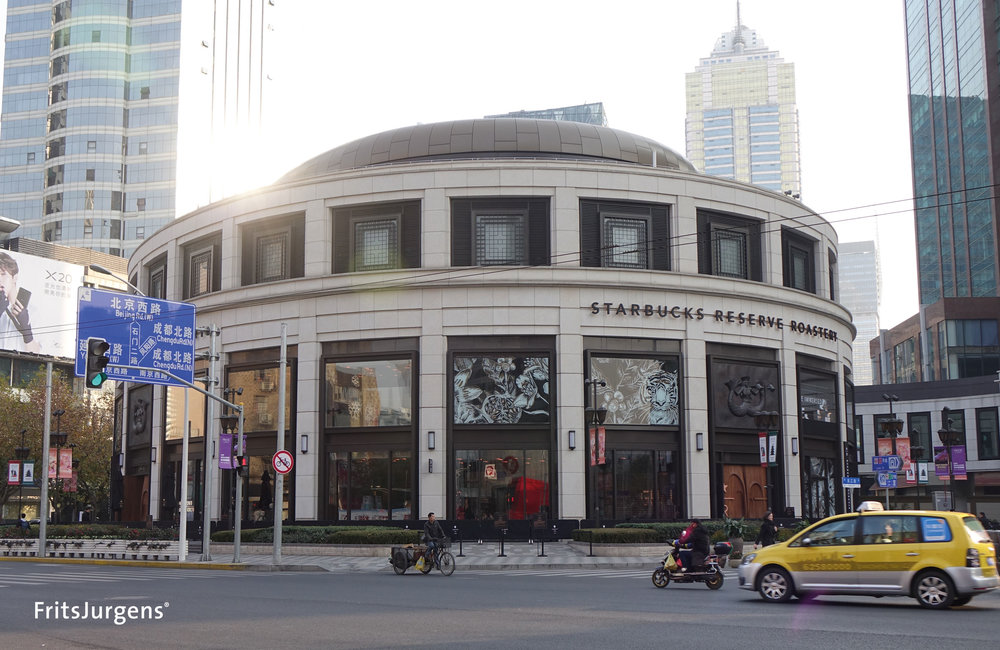 Exterior of the new Starbucks Roastery in Shanghai.