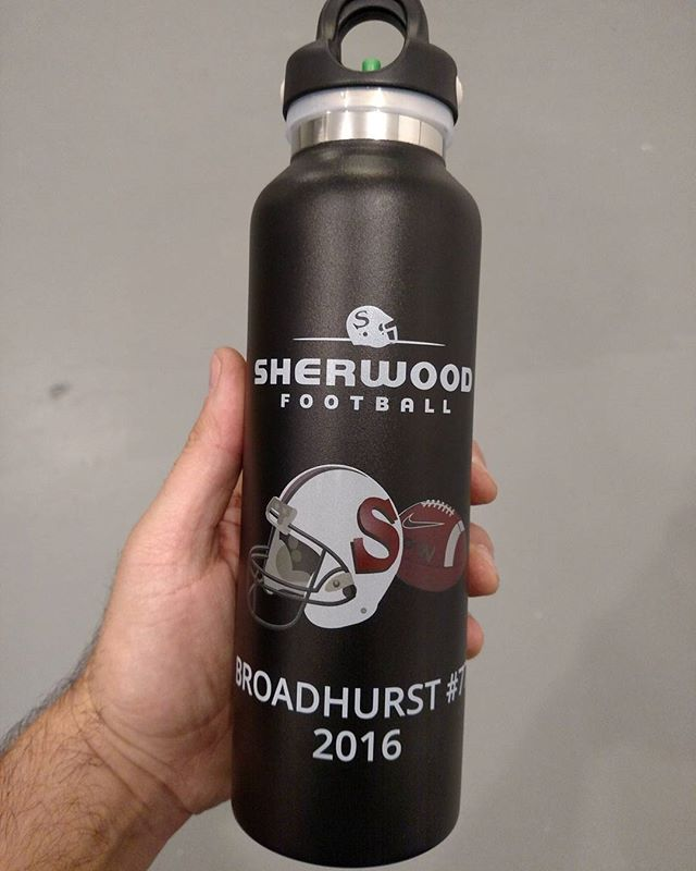 Full Color custom UV print to powder coated stainless steel water bottle!  Growlettes and Pints also available.