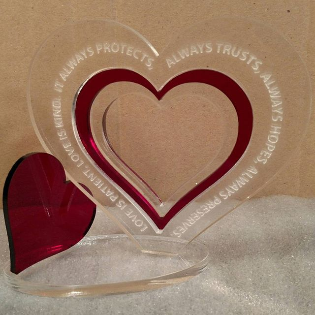 Valentines Acylic Love!  Several types Available :). We can custom etch names or initials in the heart!
