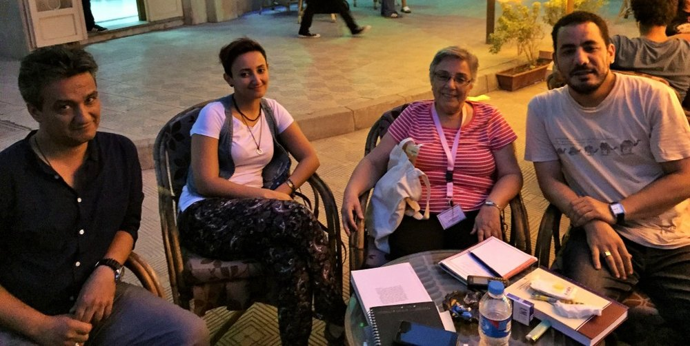 Lucine Taminian (center-right) discussing oral history with researchers from Egypt, Yemen, and Iraq (Photo courtesy of Alaa Hameed, 2015)