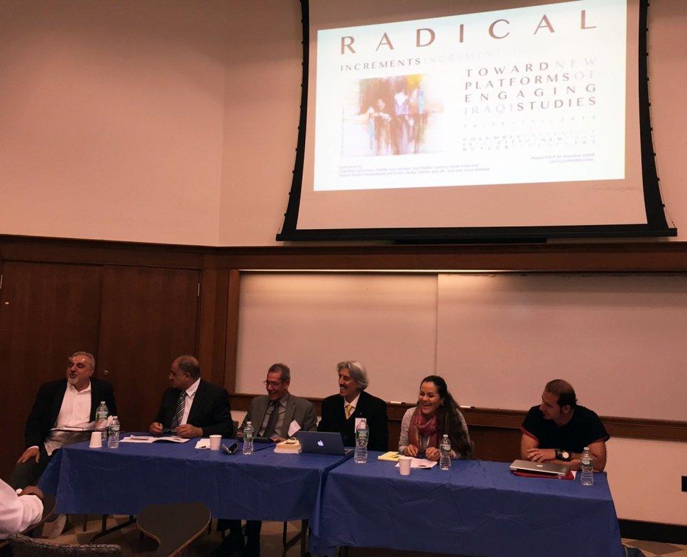 Panel participants Samuel Shimon, Dr. Taher al-Bakka, Dr. Jabbar al-Obaidi, Shakir Noori, Ali Badr, and Dr. Ikram Masmoudi (Photo Credit: Alda Benjamen, 2015)
