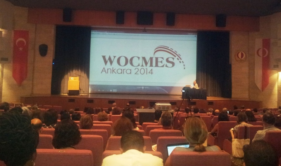 "Samir Amin giving the WOCMES keynote speech on the ""Implosion of the Neoliberal Globalization and Its Effects on the Middle East Regions"" (Photo credit: Faris Nadhmi, 2014)"