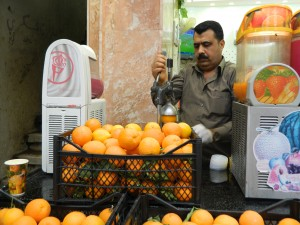Fresh orange juice available in the market near the Citadel in Erbil (Photo credit: Beth Kangas, 2013)