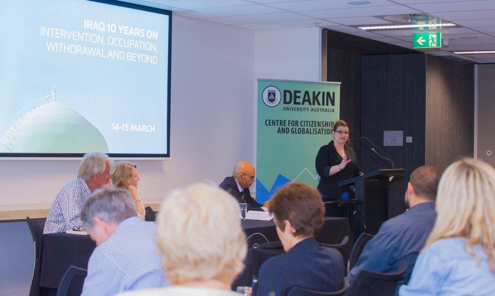 Ms. Aloysia Brooks (University of Sydney) addressing the crowd (Credit: Deakin University).