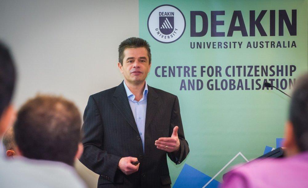Professor Liam Anderson (Wright State University) addressing the crowd (Credit: Deakin University).