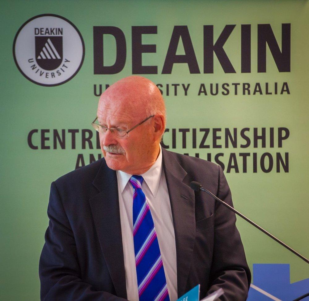 Professor Michael C. Hudson (National University of Singapore) addressing the crowd (Credit: Deakin University).