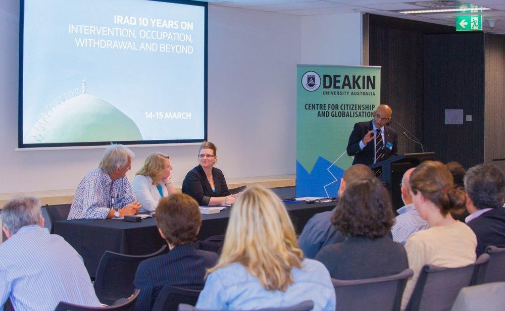 Professor Amin Saikal (Australian National University) addressing the crowd (Credit: Deakin University).