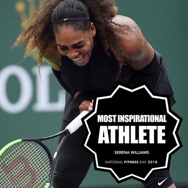 "Our next #NationalFitnessDay Award for Most Inspiring Athlete goes to superstar tennis player @serenawilliams! 🏆🎾 . Serena was only the second black woman to win a Grand Slam, has more Grand Slam titles than any man, and is an athlete so awarded she had the ""Serena Slam"" named after her. But more than her skills on the court, for years Serena has served as a role model for women in sports, speaking out about positive body image, racial equality, equal pay, and women supporting one another. 💪🏾🚺 . ""My new saying for the past few years has been, 'The success of one woman should be the inspiration for the next.'"" . Just stepping back into tennis after giving birth to her first daughter and taking a leave from the game, Serena has recently given fans a unique opportunity to follow her personal journey as a wife and new mother, as well as her pursuit of the ultimate comeback. . Her documentary series 'Being Serena' just landed this month on HBO. Check it out Wednesdays at 10pm. . For all of this year's winners, head over to the site through the link in our bio! 👆🏽"
