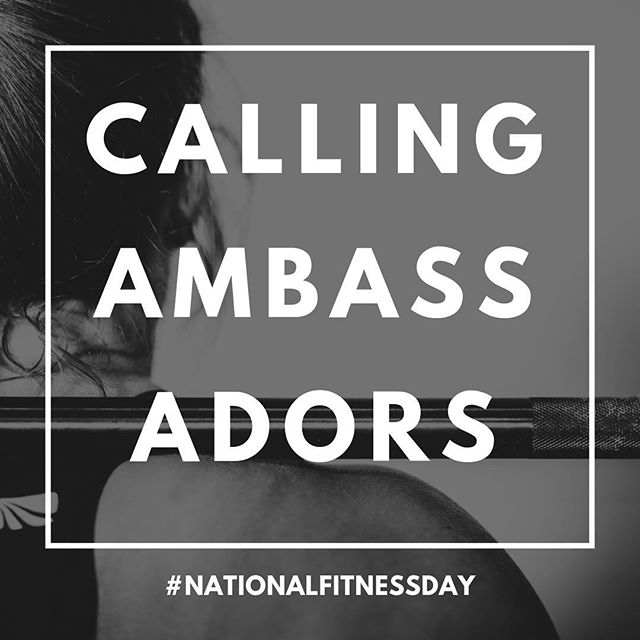 Calling all fitness enthusiasts! Join us as a National Fitness Day Ambassador as we kick off for 2019! 🙌🏼 Being an Ambassador doesn't mean you have to be a personal trainer or have thousands of followers. Our Ambassadors come from all walks of life, and everyone contributes in a different way, whether it's sharing with friends or on social media, helping organize or volunteer at an event in your city, or even helping with design, photography, social media, and more. . As an Ambassador you'll be added to our ongoing Ambassador emails and be connected to a local NFD chapter. You'll have a role in helping shape next year's plans, and an opportunity to meet and connect with other fitness enthusiasts both in your city and across the country. Additional perks include access to our private Facebook group, custom shirts, discounts and more to come! . If you're interested, just email us at hello@nationalfitnessday.org with your name, a brief bio, and anything else you want to add about how you'd be most interested in helping out. . Stay sweaty! 💦