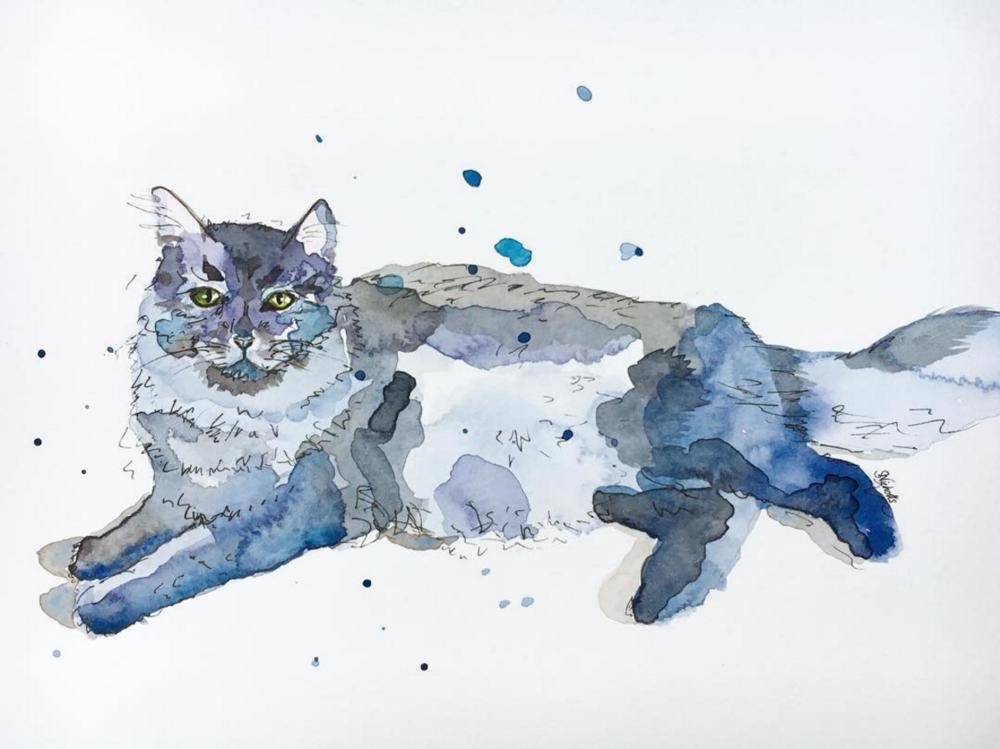 Custom Cat Painting by Sarah Nicholls of Sarah Nick Nicks