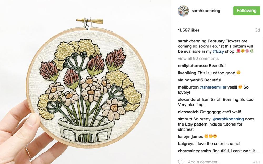 Sarah Benning Instagram Caption Example