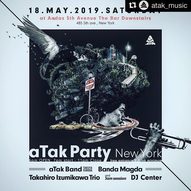 This Saturday⚡️⚡️⚡️ Super exciting lineup and it's free entrance😱🍾 looking forward to perform with brother @takutrumpet 's aTak Band🐉🎺⚡️ #最高でーーーーす #神ってる #tothetop