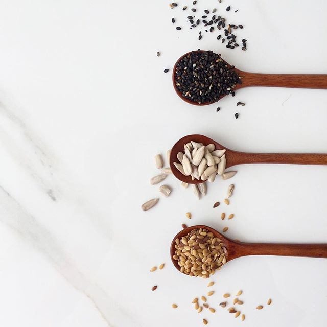 HORMONE BALANCE | Seeds are a great way to balance and support estrogen and progesterone phases of women's cycles. Sprinkle 2 tablespoons of ground, raw, organic flax seeds on food or in your smoothie during the first 14 days. Then switch to ground, raw, organic sunflower OR sesame seeds until your cycle restarts. They taste nutty and delicious and if you're not someone who has more severe hormone imbalances, this is a super easy way to support the female endocrine system.