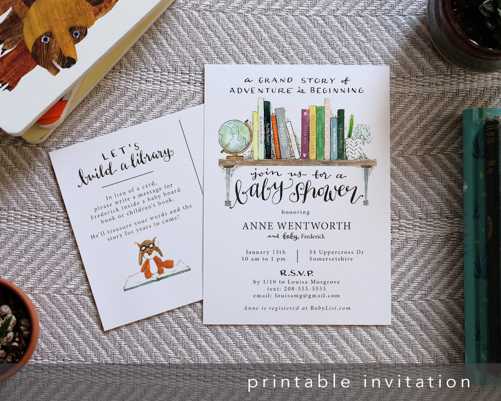 an invitation design for book-loving mamas - Check out my latest printable design for Line and Feather: a postcard baby shower invite that encourages guests to bring a book instead of a card.