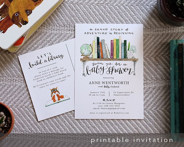 I've added some goodies to this printable invitation set for the mama-to-be who would rather have a stack of books than a stack of cards. I've been selling the postcard invite for a while (I design, you print) but now you're can also get coordinated printable thank-you notes, plus personalized bookplates for guests to write a special message and stick inside their book! 📚 . . . #etsyfinds #babyshowerinvites #buildalibrary #bookshower #watercolorinvitation #printable