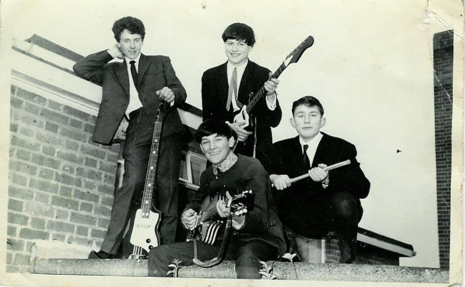 Alan Lawrence (guitarist on the right) c. 50 years ago.
