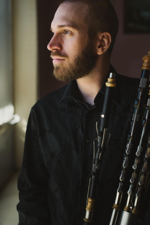 Melbourne-based uilleann piper Matthew Horsley. Photo by  Lucy Spartalis .