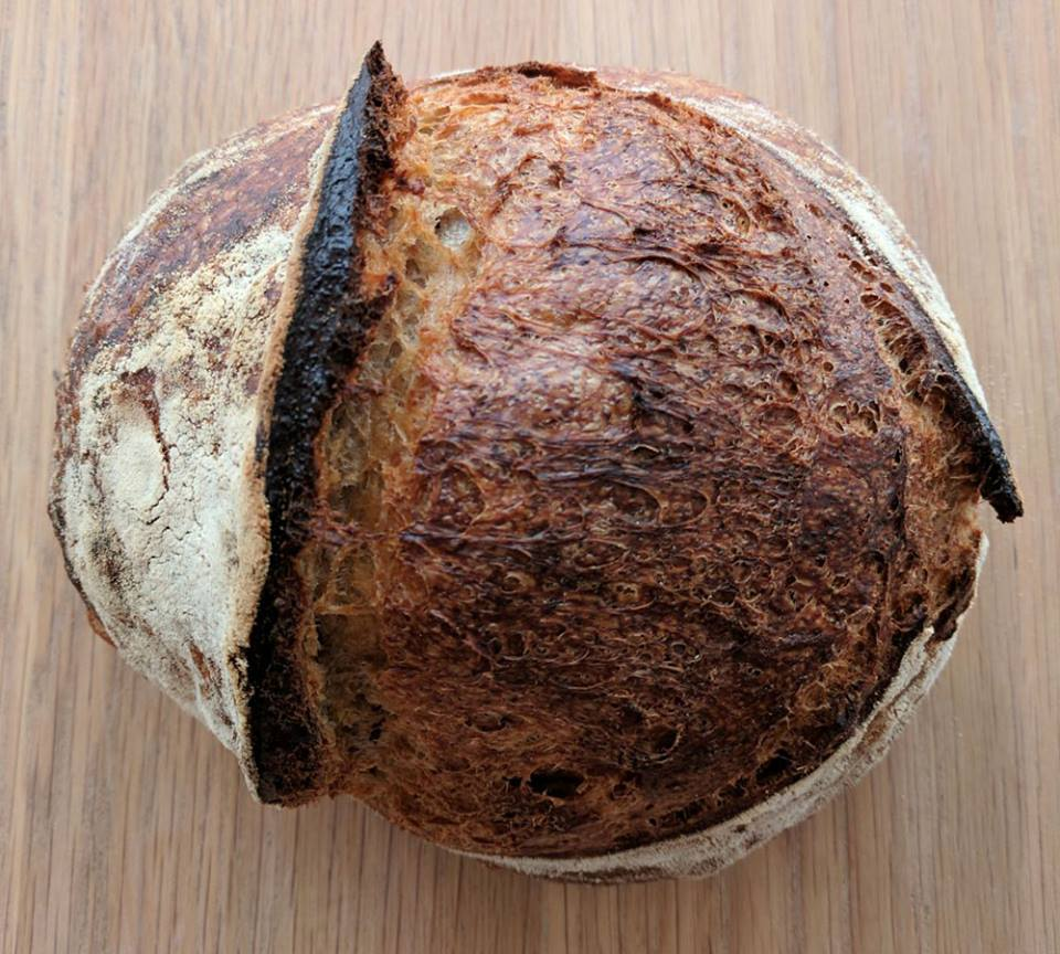 bread by bike's crusty sourdough loaf at stroud green market in north london