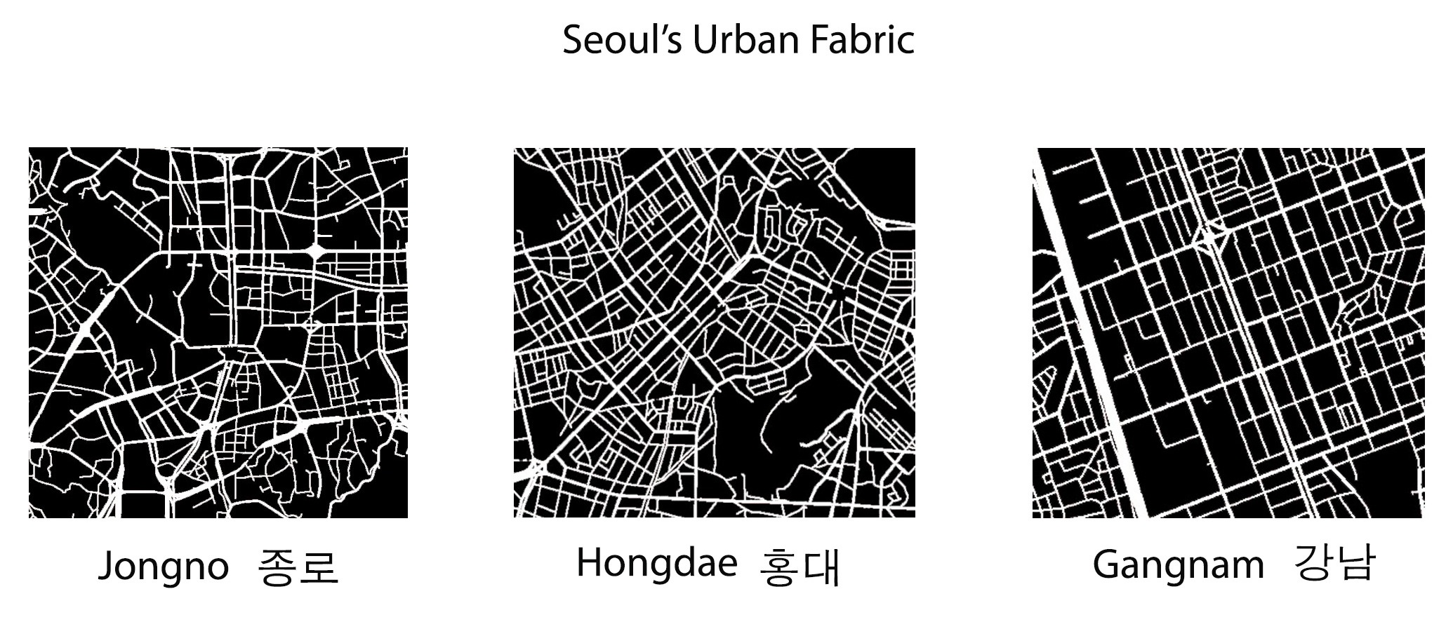 Seoul's urban fabric: 3 neighborhoods