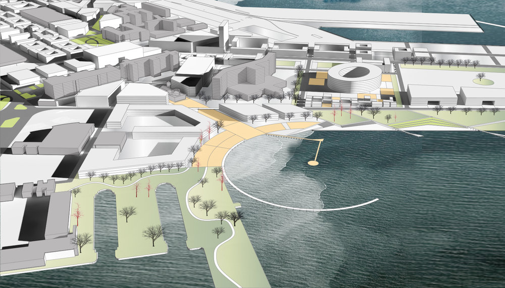 Massing of proposed infill development and waterfront plaza, with existing buildings (grey) in between.