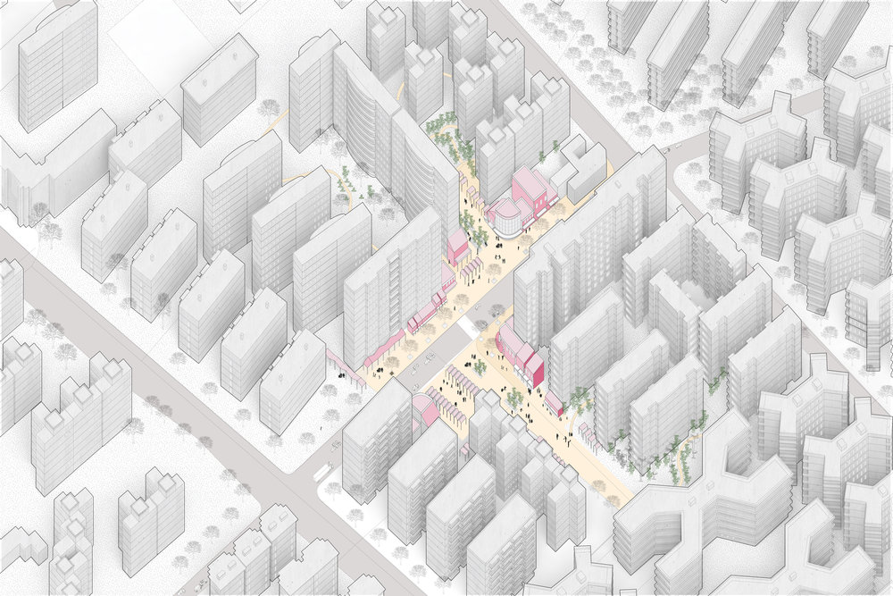 A vision for two plazas located at the intersection of two gated communities. The plazas, which create linkages across roads between gated communities provide for community space and retail and would ultimately be part of a network of linked plazas and pathways that would knit the city together (see above).