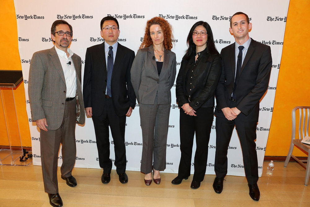 "My appearance (right) at the 2014 New York Times ""Cities for Tomorrow"" Conference, as a panelist discussing China's urbanization and what it means for global sustainability, moderated by Andrew Revkin (left) of the New York Times, alongside (left to right): Yu Gao (Landesa, China), Carolyn Kissane (NYU)  Karen Seto (Yale FES)."