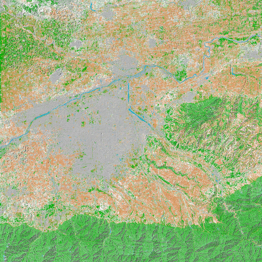 Landsat color spectrum analysis was used to classify ground cover in Xi'an among other regions in China, showing the extent of urbanization over the past few years. This image is from 2017 data.