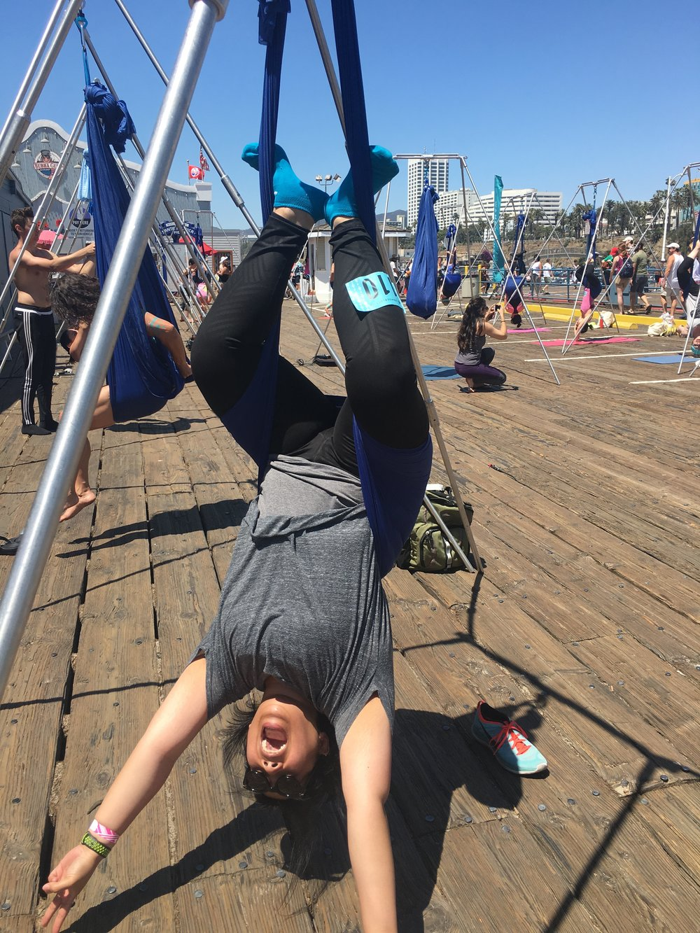 Me doing aerial yoga