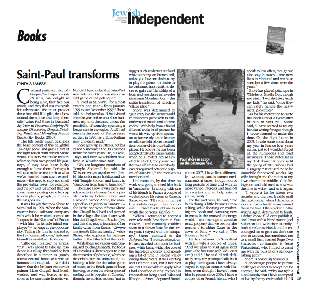 Saint-Paul Transforms, by cynthia ramsay, Jewish independent, June 16, 2017