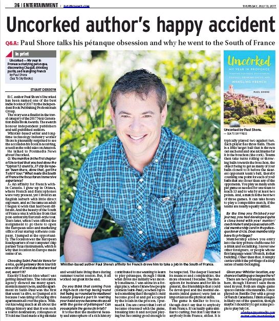 Uncorked Author's Happy Accident - Vancouver PRovence, July 13, 2017, Stuart Derdeyn