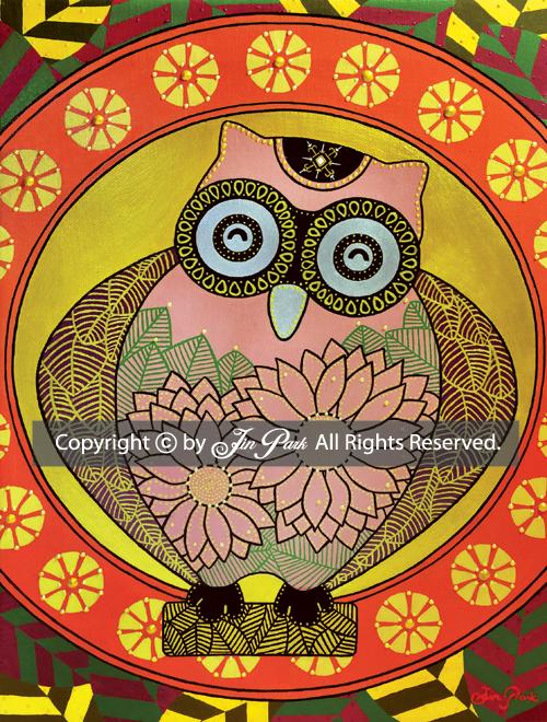 JIN PARK/FORBEARANCE OWL/24X33cm/MIXED MEDIA ON CANVAS/2014 _ 全著作権所有。 著作権はヒロとジン・パークにあります。 ®