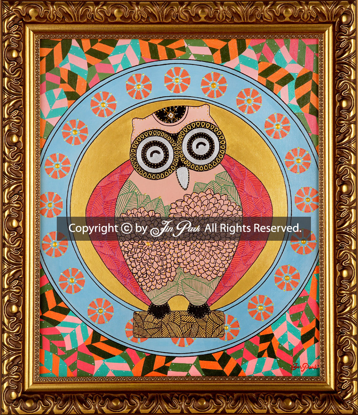 JIN PARK/KINDNESS OWL/37X44cm/MIXED MEDIA ON CANVAS/2014 _ ALL RIGHTS RESERVED. COPYRIGHT IS ON HIRO AND THE ARTIST JIN PARK.®