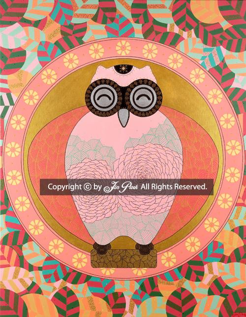 JIN PARK/ROSE OF SHARON 猫头鹰《喜露》 /91X117cm/MIXED MEDIA ON CANVAS/2014 _ 本作品已经申请注册版权,设计,商标。如非法传播或盗用,会受到法律制裁。®