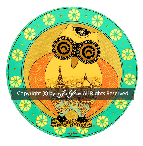 JIN PARK/  去巴黎的猫头鹰(法国) 《喜露》 /30X30cm/MIXED MEDIA ON CANVAS/2015_  本作品已经申请注册完版权,设计,商标。如非法传播或盗用,会受到法律制裁。®