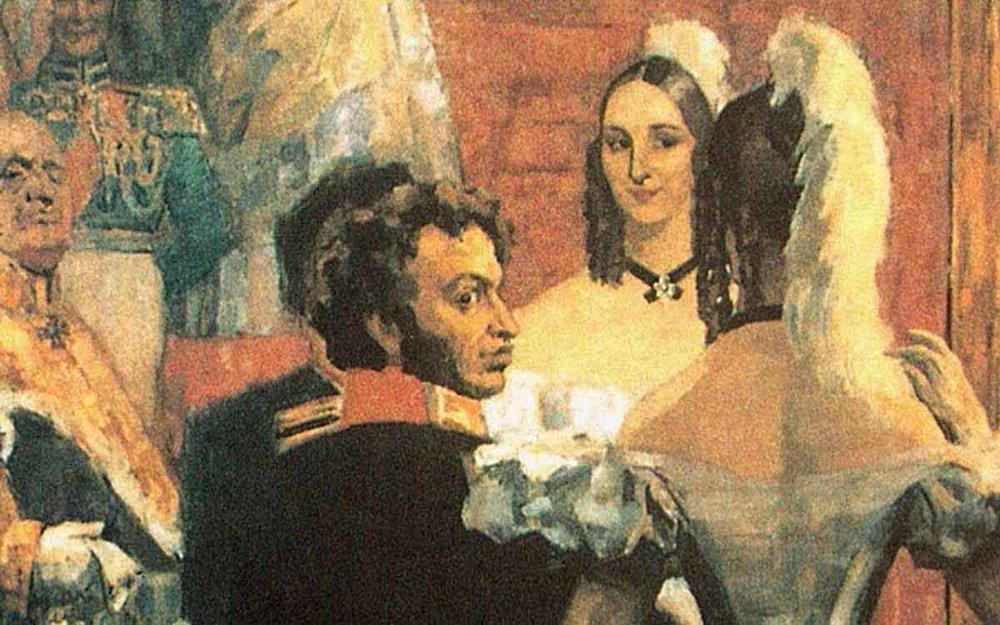 «Пушкин с женой перед зеркалом на придворном балу»Николай Ульянов, 1936