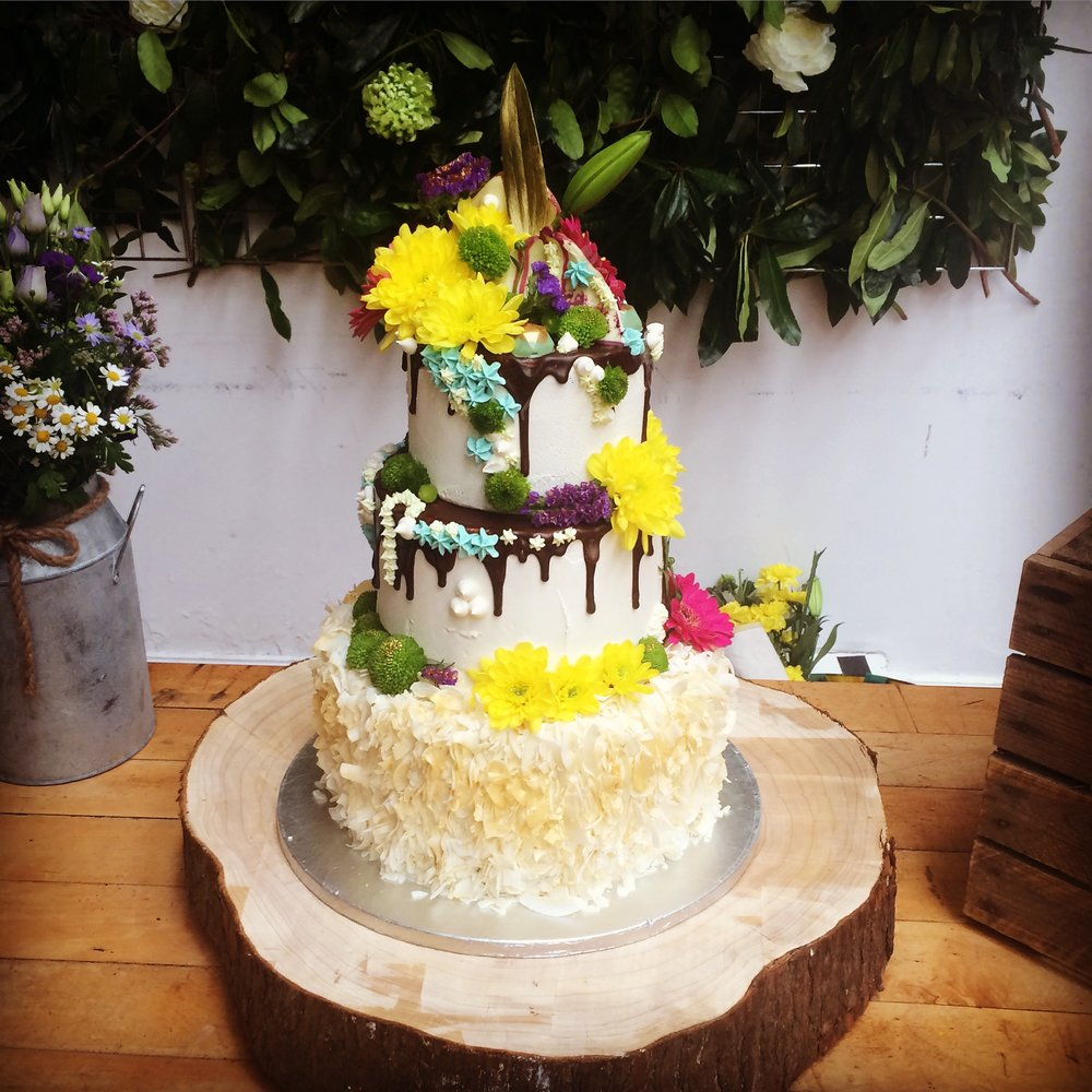 Floral Spring Wedding Cake  From £345 including set up