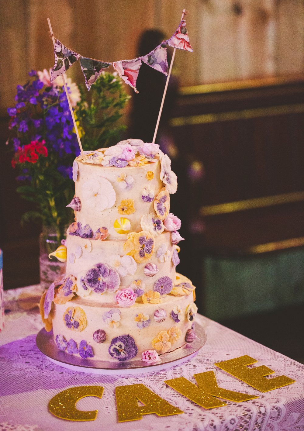 Crystalised Flower Wedding Cake