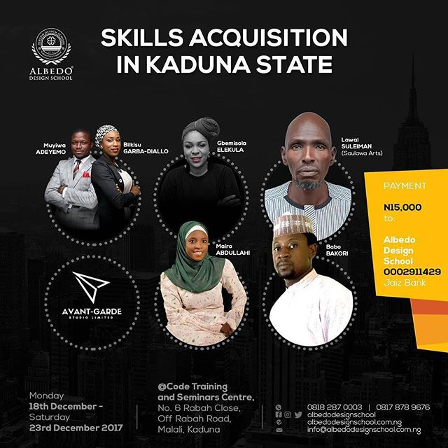 @Regrann from @albedodesignschool - Kaduna are you ready???? The Skills Acquisition training is 4 days away! 7 amazing facilitators, 6 fantastic skills to be learnt.  Register now, let's round up the year preparing for a very successful 2018!  18:12:17| Kaduna| N15,000.00  Call us 08182870003 | www.albedodesignschool.com.ng  #skillsacquisition #workshop #creativity #designers #decor #art #upcycling #crafts #africandesign #entrepreneurship #business #learn #softfurnishing #furniture #design #interiordesign #interiordecor #decor #artpieces #empowerment #adskd #ads #kaduna #2017