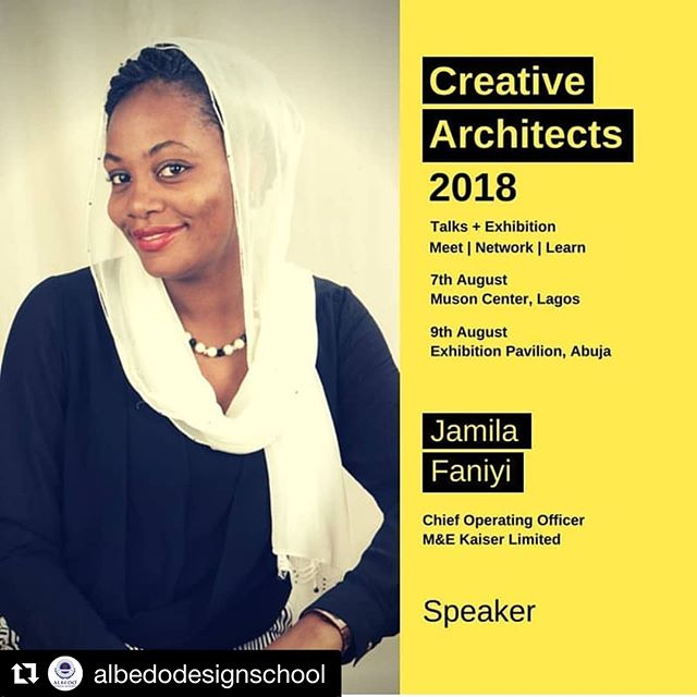 #Repost @albedodesignschool with @get_repost ・・・ And Jamila Faniyi @construction_kaiser speaks.  An inspriring journey of a woman in the built industry and how she's changing the industry.  The Kaiser group is 100% indigenous!!!😎😎😎 #creativearchitects #architects #designers #designthinking #lagos #interiordesign #ads #interiordesign
