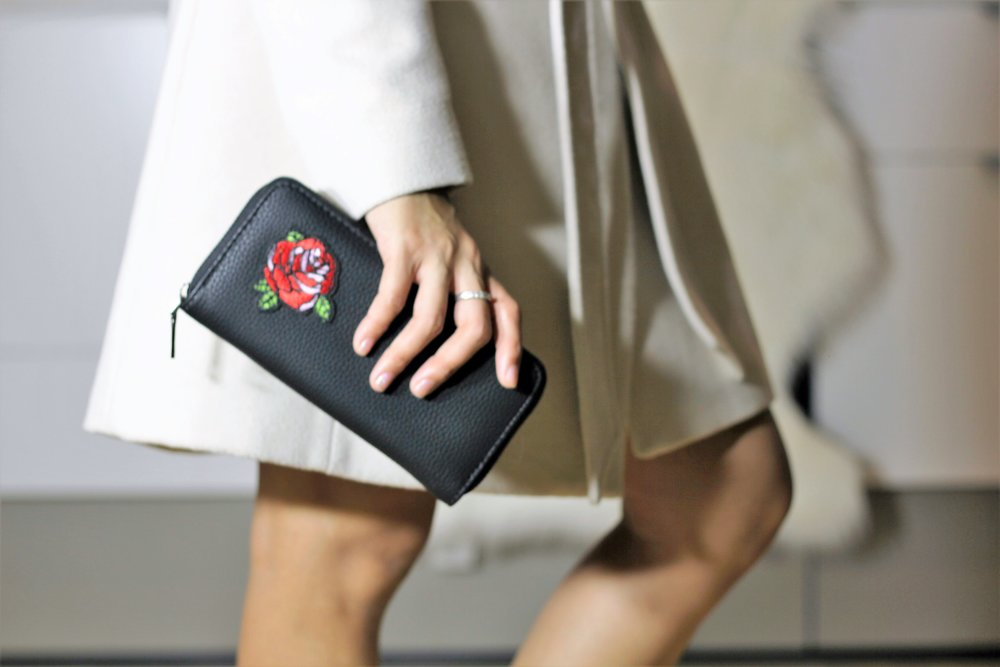 Embroidered Rose - Zip Around Wallet