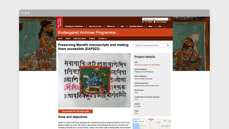 Marathi manuscript displayed on new Endangered Archives Programme website