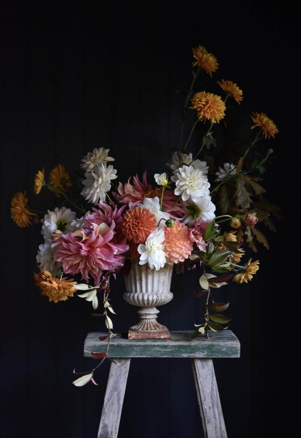 an urn of flowers