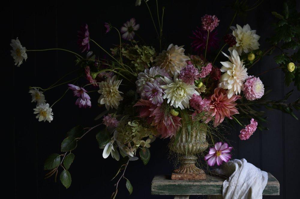 An urn of dahlias