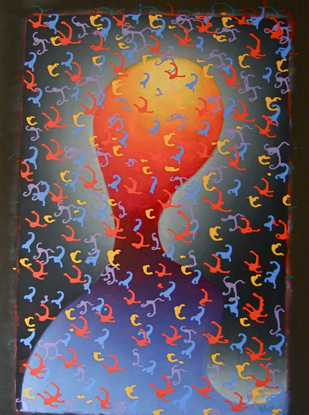 Brui William   Composition with a head. Acrylic on canvas. 1988. Size: 150 x 195 cm.
