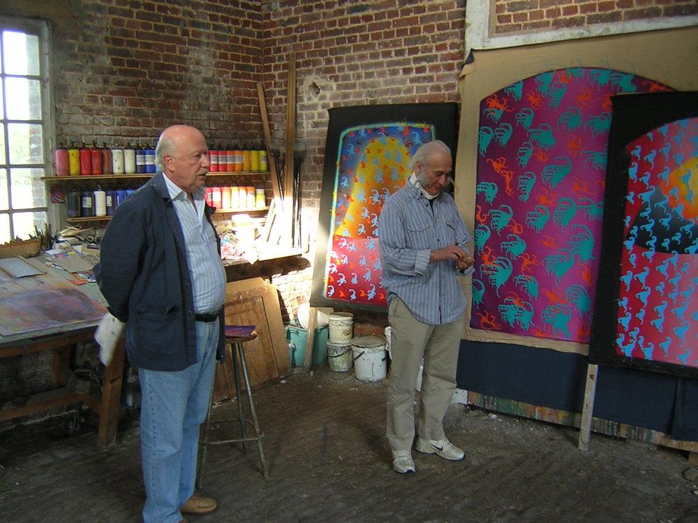 In William Brui's workshop in Normandy, France.  В мастерской Вильяма Бруя (Нормандия, Франция 2006) A. Shlepyanov, W. Brui.