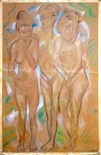 Trois Graces (1926)    Pastel, fusain, crayons couleur signée et datée en bas à droite, 103 x 69 cm